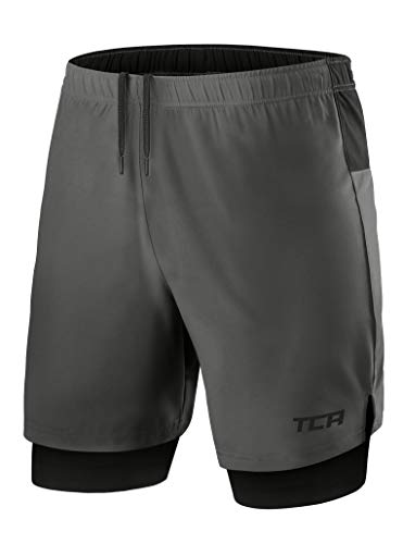 TCA Mens Ultra 2 in 1 Running Shorts with Inner Compression Short and Zip Pocket - Asphalt/Black, M