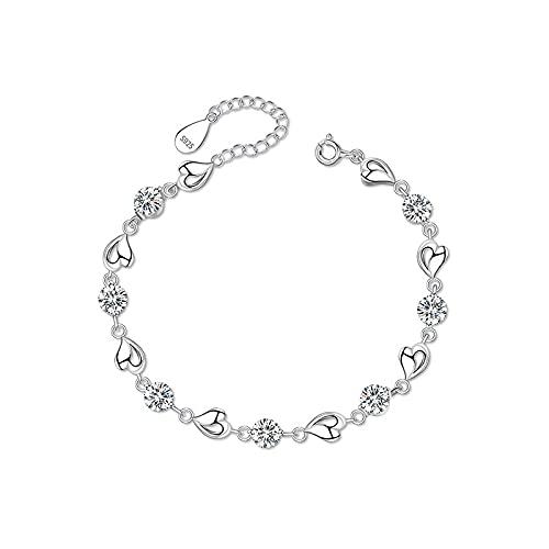 S925 Pulsera de diamantes de plata esterlina Mujer Amor hueco Simple Luz llena de diamantes Corazón Joyas Regalo del día de San Valentín SL06