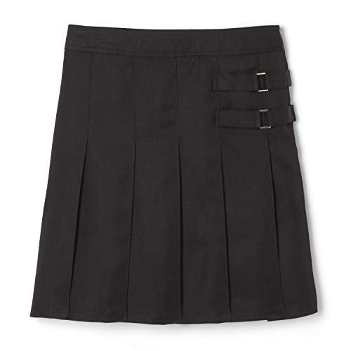 French Toast Girls' Two-Tab Pleated Scooter skirt, Black, 14,Big Girls