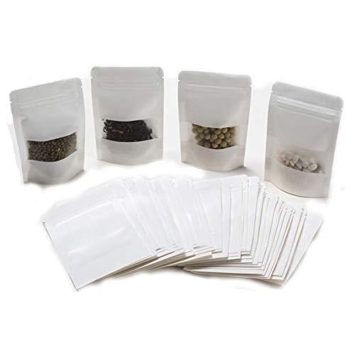 Gewürztüten   FVCENT 100 Stück Weiß Wiederverwendbar Papier Druckverschlussbeutel Food Storage Stand Up Pouch für Getrocknete Früchte Kaffee Samen Bean Tee Leaf