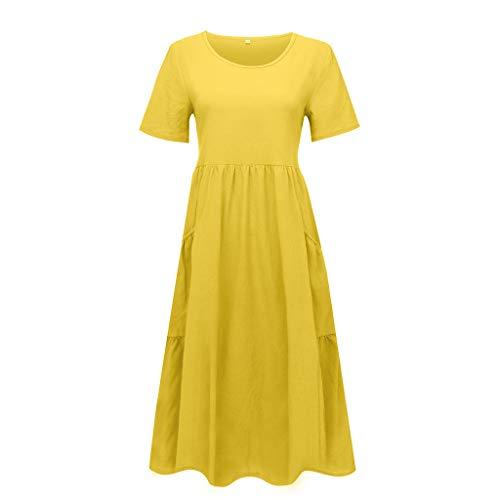 Frühchenkleidung Sommerkleid Teenager Mädchen Schwangerschaftskleider Fotoshooting Boho-Kleid Kleid Damen Lang Neckholder Kleid Kleider Damen Sommer Bandeau Kleid Tüllkleid(Gelb,M)