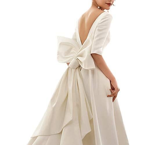 WMOFC Frauen-Backless Bogen Wedding Dresses Brautkleid Elegante Romantischen Schwanz Halbarm Kapelle Individuelles Abendkleid,S