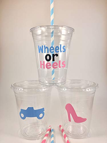 Wheels or Heels Party Cups Set of 12 With Lids Straws
