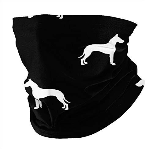 ZHANGPEIENfaqi Gran danés silueta perro negro variedad cabeza bufanda moda máscara facial a prueba de sol moda bandana headwear toalla cara para hombres y mujeres