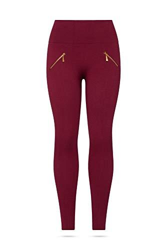 Kendindza Damen Thermo-Leggings gefüttert mit Innen-Fleece Basic Blickdicht mit Zipper (Rot, S/M)