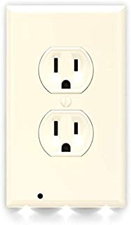 SnapPower Guidelight - Outlet Wall Plate With LED Night Lights - No Batteries Or Wires - Installs In Seconds - (Duplex, Light Almond) (1 Pack)