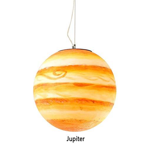 Yilingqi-1 Creatieve ronde kroonluchter acryl met de hand beschilderd Jupiter/Sun Star plafondlamp, E27 Resin Shade 12W, CE/ERP gecertificeerd woonkamer restaurant Hotel Art Deco licht, Jupiter, 30CM