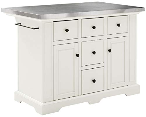 Crosley Furniture Julia Kitchen Island with Stainless Steel Top, White