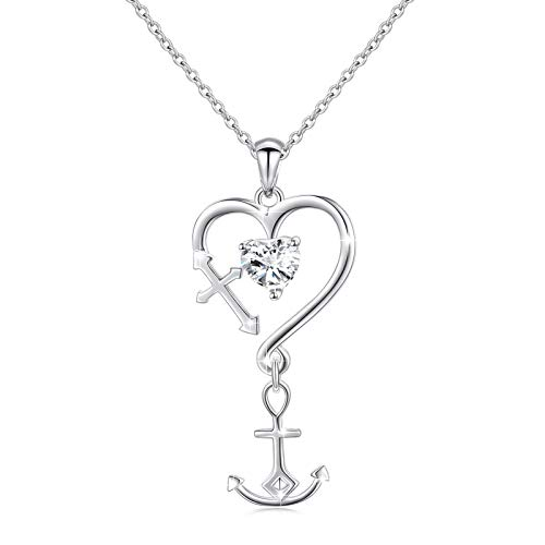 S925 Sterling Silver Faith Hope Love Heart Cross Anchor Pendant Necklace for Women 18'