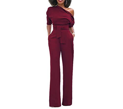 Mono Mujer Rojo Largo Fiesta Talla Grande 1/2 Mangas Jumpsuits Elegante One-hombro Pantalones Pierna Ancha con Cinturón para Playa business oficina y Clubwear Noche Fiesta