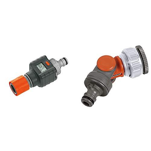 Gardena Wassermengenzähler & Winkelhahnstück: Winkelanschluss für 26.5 mm (G3/4 Zoll)-Wasserhahn mit 33.3 mm (G1 Zoll)-Gewinde, 21 mm (G1/2 Zoll)-Wasserhahn und 26.5 mm (G3/4 Zoll) Gewinde