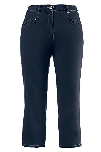 Ulla Popken Große Größen Damen Hose Jeans Mony wadenlang, Blau (Dark Denim 93), 48