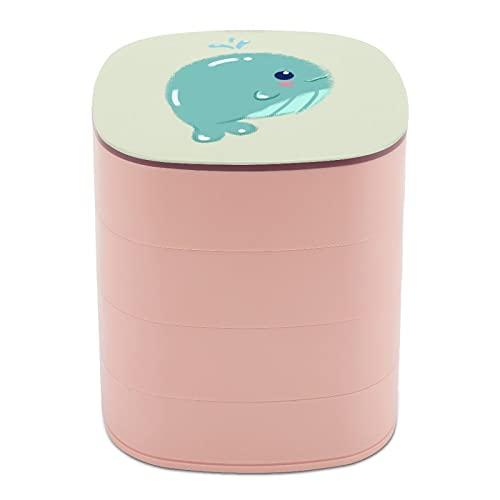 Girar la caja de joyería diseño lindo bebé ballena verde pastel negro ojos joyería titular caja pequeña con espejo, diseño de múltiples capas plato de joyería para mujeres niña