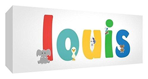 Little Helper Toile Boîte Galerie Enveloppé avec Panneau Avant Style Illustratif Coloré avec le Nom de Jeune Garçon Louis 21 x 59 x 3 cm Moyen