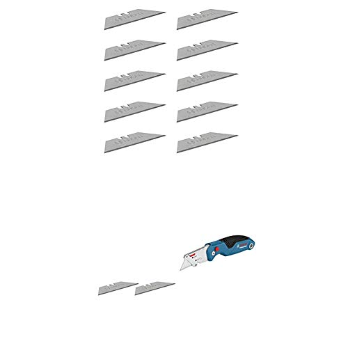 Bosch Professional 10 Ersatzklingen für Klappmesser (inkl. Trapezklingen, Einhandspender) + Universal Klappmesser mit Klingenfach im Metall-Griff (inkl. 2 Ersatzklingen, in Blister)