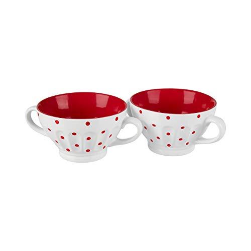 TRI Schlemmer-Tassen, 2 Stück, 440 ml, Suppentasse, Suppenschüssel, Eintopf, Dessertschale, 2 Henkel, Punktedesign, Steingut, je 13 x 7,5 x 6,5 cm
