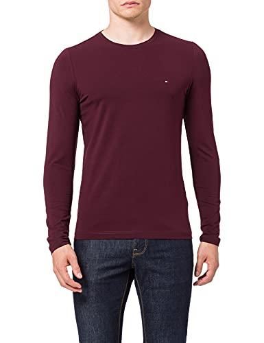 Tommy Hilfiger Stretch Slim Fit Long Sleeve tee Camiseta de Manga Larga, Rojo (Deep Burgundy), L para Hombre