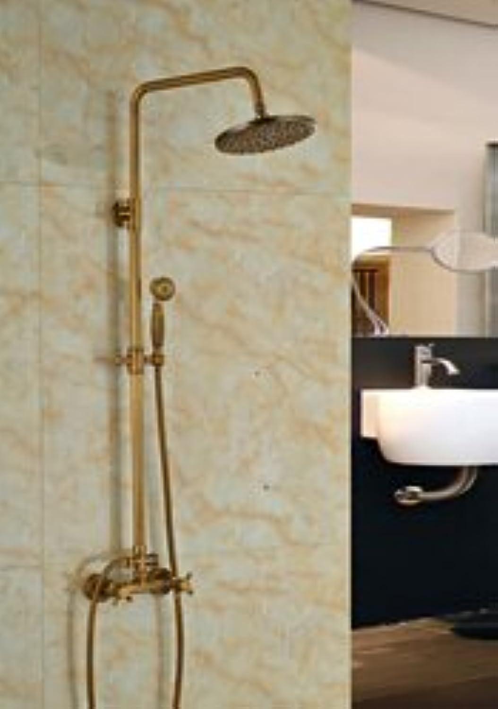 Luxurious shower Gro- und Einzelhandel Frderung Luxus Wandmontage Messing antik 8  Runde Regendusche Wasserhahn Set Dual Griffe W Handbrause, Klar