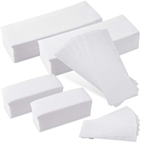 WXJ13 400 Pieces Non-Woven Wax Strip Body and Facial Waxing Strips Hair Removal Wax Strips for Arms, Legs, Underarm Hair, Eyebrow, Oxter of Women and Men (2 Sizes)