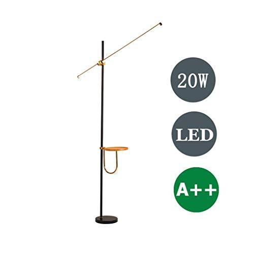 UWY Lámpara de pie LED, 20W Lámpara de pie con estantes, Lámpara Alta Ajustable en Altura, Lámpara de pie de Lectura para Sala de Estar Dormitorio Hotel Restaurante, Interruptor de pie, Luz cáli