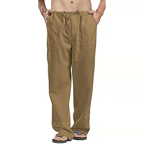 Pantalones Hombre Verano Casuales Moda Deportivos Lino Pants Color sólido Jogging Pantalon Fitness Suelto Pantalones Largos Pantalones Jogging para Hombre Pants Pantalones Deportivos Hombres