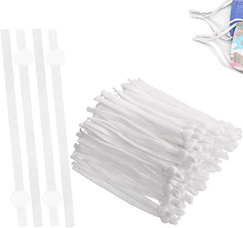 LMOW 50 Stück GummibandfürMundschutz,5mm GummibandRund ElastischeSchnur für DIY Nähen und Handwerk(weiß)
