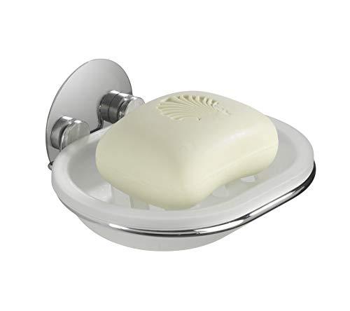 WENKO Turbo-Loc® Seifenablage, Seifenschale mit Wandhalterung, für Küche und Badezimmer, Befestigung ohne bohren, aus verchromtem Stahl, 13 x 6 x 11 cm