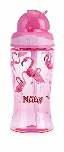 Nuby, bicchiere in Tritan con cannuccia, 12 m+, rosa