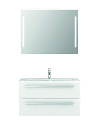 Badmöbel-Set Libato - 90 cm breit - Weiß Hochglanz - Badezimmermöbel Waschtisch mit Unterschrank Spiegel mit Beleuchtung Sieper Jokey