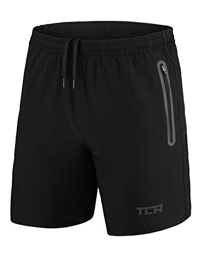TCA Men's Elite Tech Lightweight Running or Gym Training Shorts with Zip Pockets - Black Stealth, M