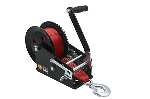 TYT 3500 lb Boat Trailer Winch with Heavy Duty 10 M Red Strap, Sturdy Long-Lasting Gear Crank Hand Winch, Operated Two Way Ratchet Truck Marine Pulling Towing Winch (Black Winch with Red Strap)