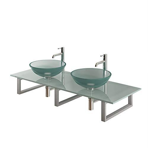 Alpenberger Perfecte dubbele glazen wasbak Ø 42 cm van veiligheidsglas ESG incl. moderne glasplaat 140 cm en roestvrijstalen console | Leuke glazen wasbak opzetwastafel extra voor je badkamer