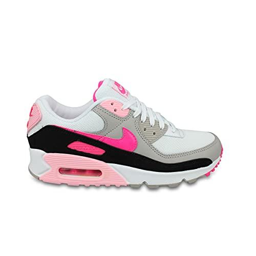 Nike Air Max 90, Scarpe da Ginnastica Donna, White/Hyper Pink-Black-College Grey, 40 EU
