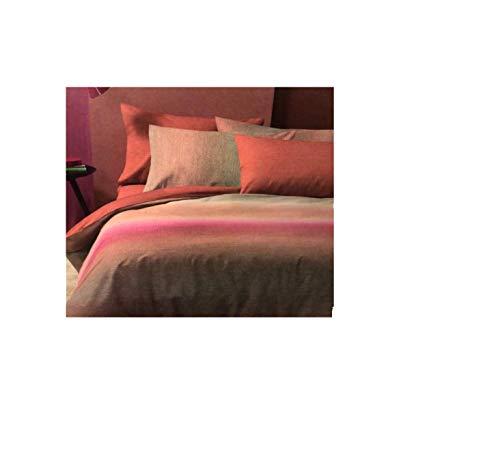 BASSETTI Juego de funda nórdica individual 100% algodón con doble funda de almohada 155 x 200 cm color naranja Art.Focus
