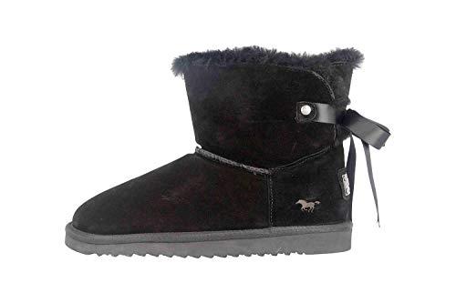 MUSTANG Damen Leder Stiefel Schwarz Lammfell, Schuhgröße:EUR 43