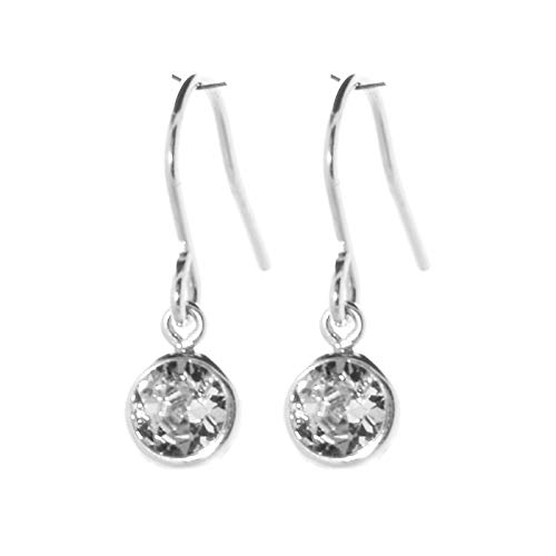 pewterhooter petite 925 Sterling Silver drop earrings for women made with sparkling Diamond White crystal from Swarovski in a channel setting.Gift box. Made in the UK.