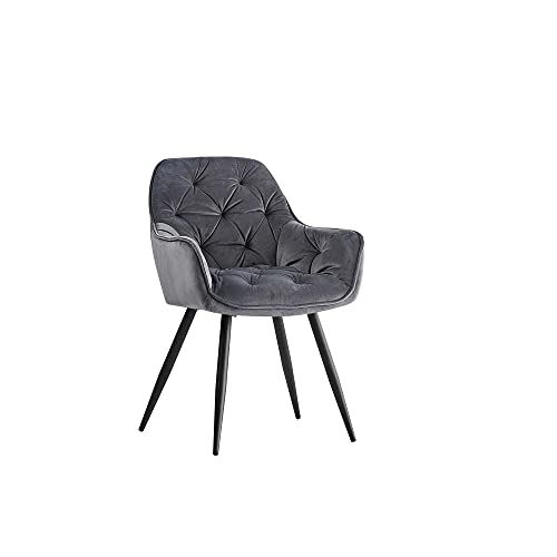 JaHECOME Sessel Esszimmerstuhl aus Stoff (Samt) Wohnzimmerstuhl Farbauswahl Retro Design Armlehnstuhl Stuhl mit Rückenlehne Sessel Metallbeine Schwarz (1, Gray)