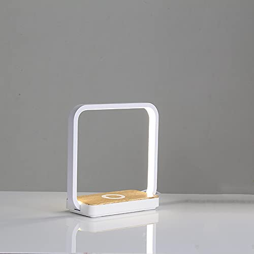 GUOJIAYI lámpara de Escritorio de Carga inalámbrica para teléfono móvil lámpara de protección Ocular táctil multifunción lámpara de cabecera Lectura de Oficina luz de Noche led 19 Blanco