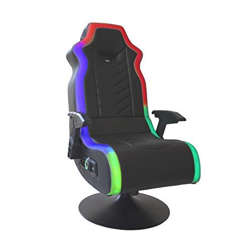 "X Rocker RGB Prism Pedestal 2.1 Dual Gaming Chair with LED Lights, 33"" x 25"" x 45"", Black"