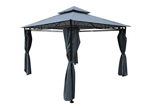 ASS Eleganter Garten - Pavillon 3x3 Meter, Dach 100% WASSERDICHT UV30+, 9m², mit 4 Vorhängen anthrazit Modell: 7075-3x3