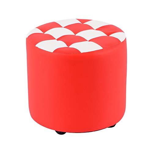 QZz Home Taburetes para sofá o hogar, de piel sintética, con forma cilíndrica, sencilla, creativa, para dormitorio, sala de estar, zapatos perezosos (color: rojo, tamaño: B)