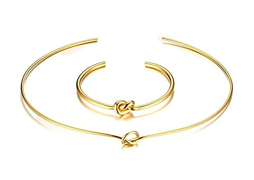 Stainless Steel Gold-Tone Knot Plain Cuff Metal Chocker Necklace for Women