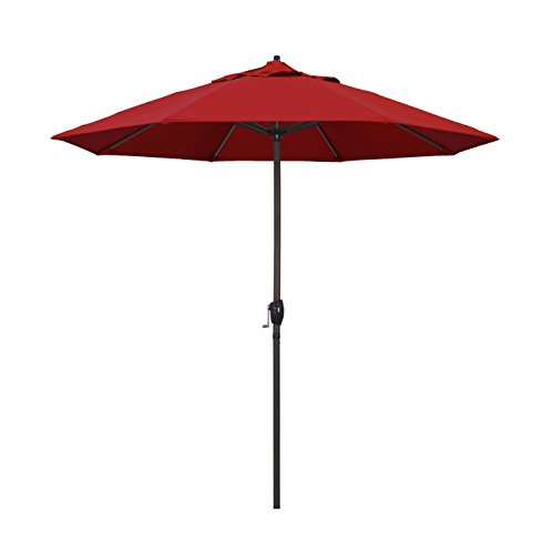 California Umbrella 9' Round Aluminum Market Umbrella, Crank Lift, Auto Tilt, Bronze Pole, Red Olefin ( Packaging may vary )