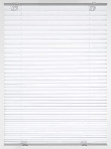 GARDINIA Plissee Solo mit Saugnäpfen, Blickdichtes Faltrollo, Alle Montage-Teile inklusive, 2 Bedienschienen aus Aluminium, Weiß, 80 x 130 cm (BxH)