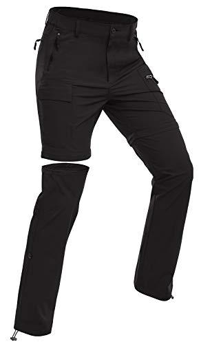 Wespornow Damen-Zip-Off-Wanderhose-Trekkinghose (Schwarz, M)