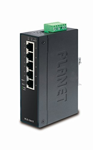 PLANET TECHNOLOGY IGS-501T IP30 Industrial Gigabit Ethernet Switch 5-Port 10/100/1000Base-TX (-40~75°C)