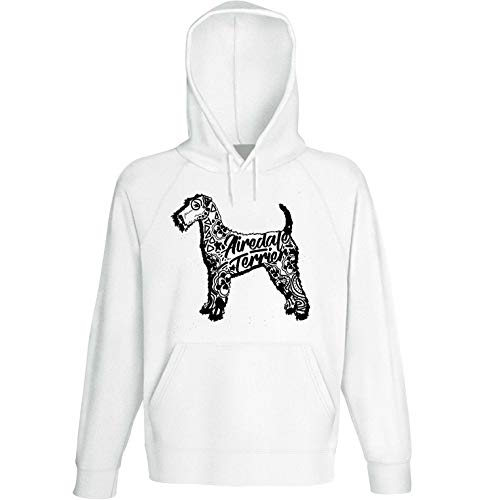 teesquare1st Men's Airedale Terrier b White Hoodie Size Large