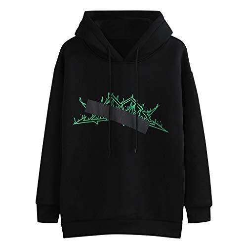 Buy HNTDG Women Autumn Winter Casual Long Sleeve Printed Hooded Sweatshirt Tops Blouse Black