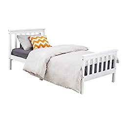 Bed frame crafted from eco-friendly, non-toxic materials, this single bed's simple design will last the test of time and is suitable for children's and teens' bedrooms. The bed frame is made with thicker slats to ensure bed's stability,safety and dur...