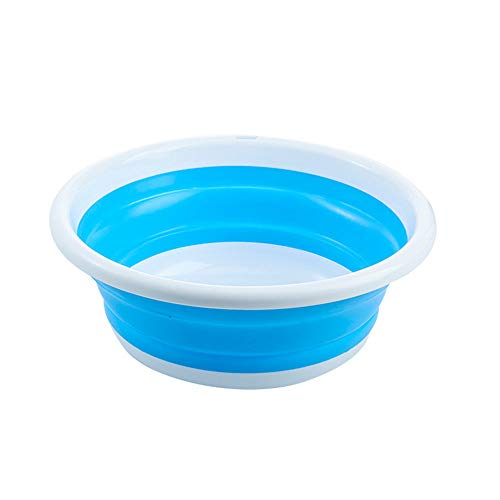 ZHBD Camping Folding Bucket Silicone Collapsible Camping Sink Storage Water Camping Fishing Outdoor Travel 3 Piece Set for Traveling Hiking Camping (Color : Blue, Size : S+M+L)